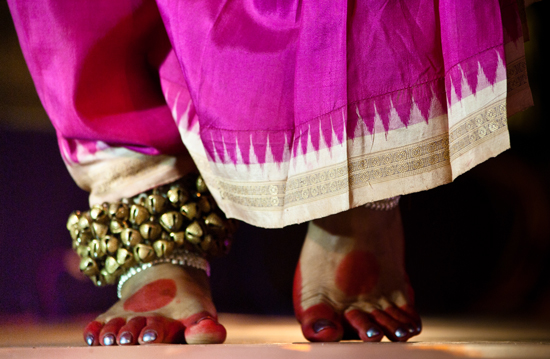 Feet, Ghungroo and Saree of a Dancer